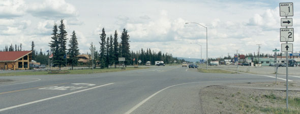 Alaska Highway southbound, at junction with Tok Cut-Off