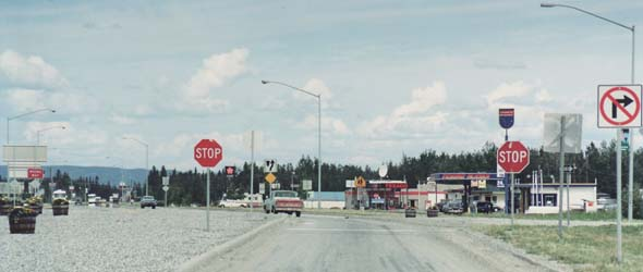 Northbound lanes of Richardson Highway in Delta Junction, with the Alaska Highway merging into the roadway from the right
