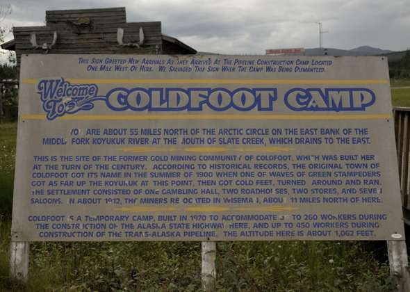 Coldfoot Camp history sign