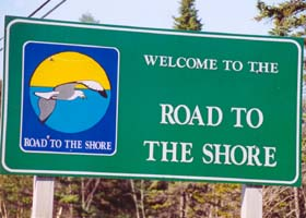 Road to the Shore marker, with seagull flying over the sea