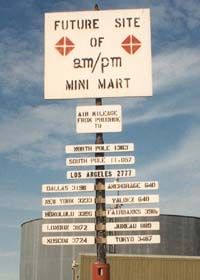 Humorous 'Future am/pm Mini-Mart' sign in Deadhorse