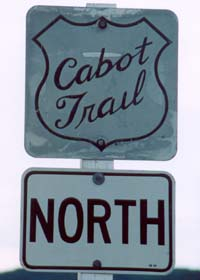 Old trunk route marker with 'Cabot Trail' in script within shield outline