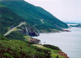 Cabot Trail rolling along the west Cape Breton coast, ocean on right