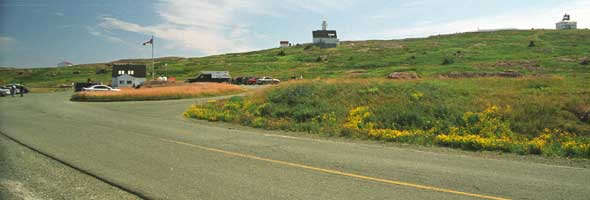Cape Spear parking lot, with lighthouses in the background