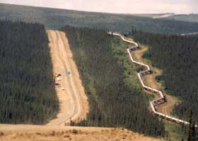 Pipeline zigzagging along highway