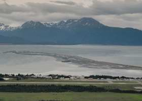 Overview of Homer Spit in Kachemak Bay, from Skyline Dr. north of downtown Homer