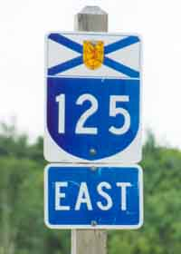 Nova Scotia arterial route 125 marker, blue U-shaped shield topped with provincial flag, all on white background