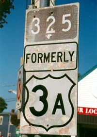 Nova Scotia collector route marker, white numbers on brown rectangle, with former route 3A trunk route marker