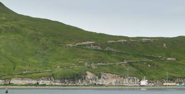 Ulakta Drive zigzags from the harbor up the side of Mount Ballyhoo