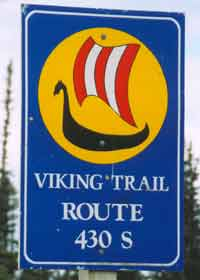 New Viking Trail marker, dark blue with Viking longboat, with route number and direction