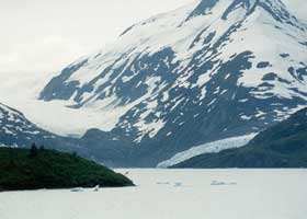 Portage Lake, and the two glaciers to its east and south