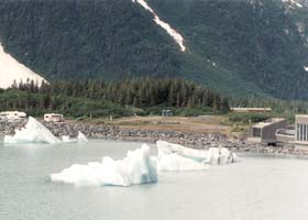 Icebergs floating across Portage Lake toward the visitor center