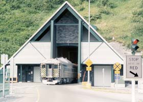 East tunnel portal, as train emerges from the tunnel toward the Whittier docks